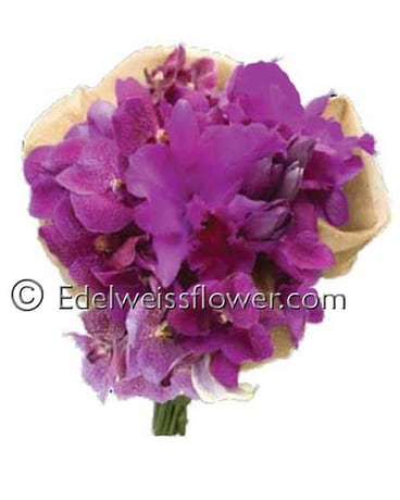Purple Orchids Bridal Bouquet In Santa Monica Ca Edelweiss