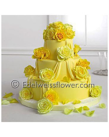 Yellow Roses Wedding Cake Flowers