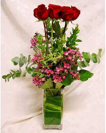 Red Roses in Square Vase