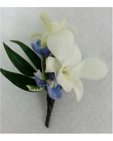 White Dendrobium and Blue Delphinium Boutonniere