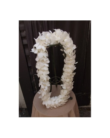 Triple White Dendrobium Orchid Lei $45