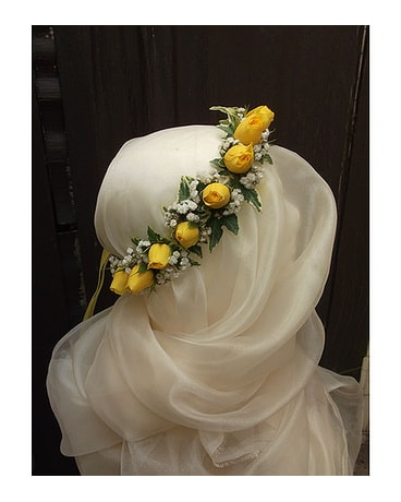 Yellow Rose Head Wreath $75