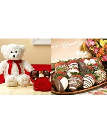 Dozen Chocolate Covered Strawberries & Bear