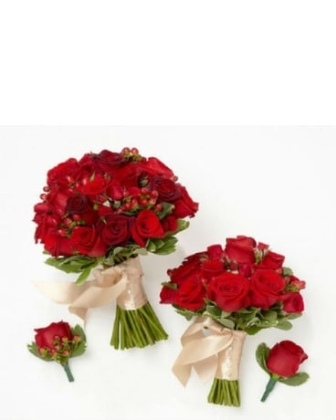 Rich Reds Bride & Maid of Honor Bouquets with Groo