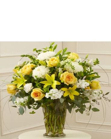 Yellow White Large Sympathy Vase Arrangement In Mesa Az Fresh