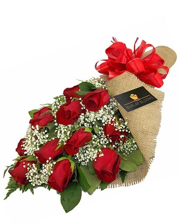 Burlap Blooms: Red Roses