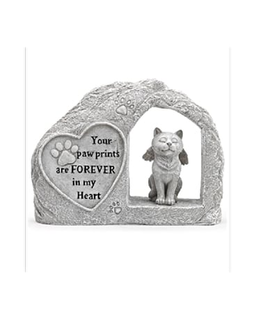 Cat In Stone With Heart