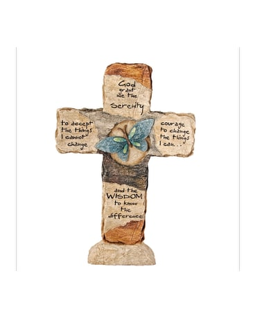 Earthstone Cross - Serenity Prayer