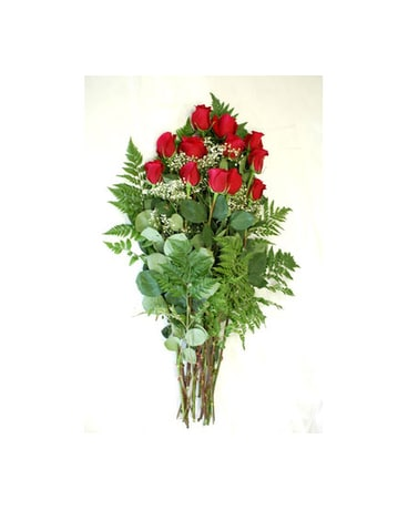 12 Long stem red roses