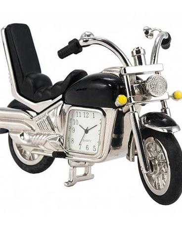 Black Motorcycle Desk Clock