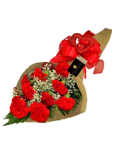 Burlap And Wrapped Jennies Flowers