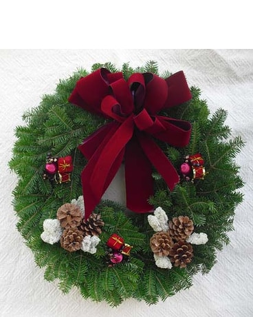 Victorian Christmas Wreath Burgundy Bow in Machias ME - Parlin ...