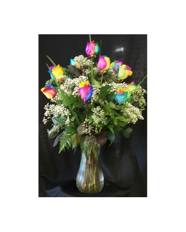 R17  Dozen Rainbow Rose Arrangement