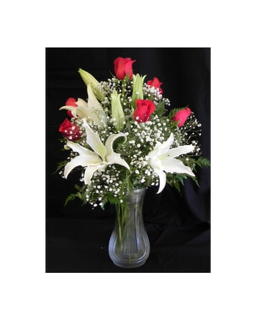 R19  Roses & White Lily Arrangement