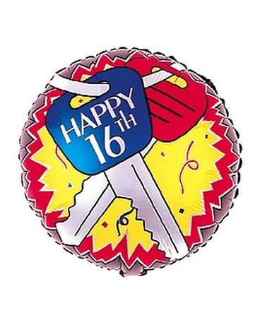 Happy 16th Birthday Car Keys Balloon