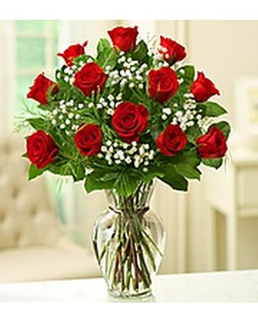 DOZEN ROSES IN ILLUSION VASE