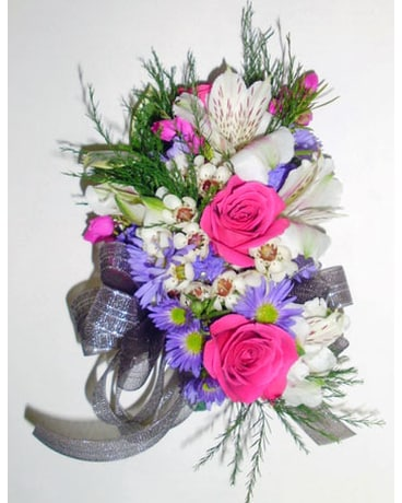 Pink purple mixed flower corsage in raleigh nc gingerbread house pink purple mixed flower corsage mightylinksfo