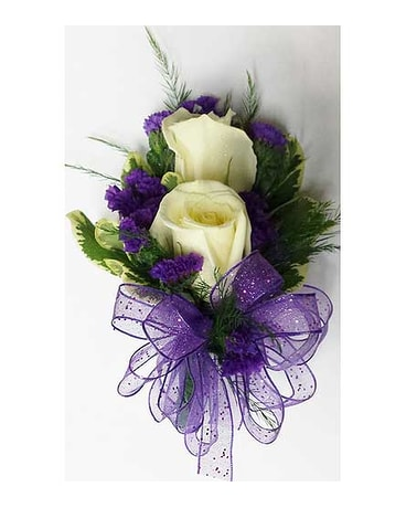 2 white rose purple statice corsage in raleigh nc gingerbread 2 white rose purple statice corsage mightylinksfo