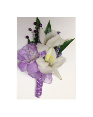 Freesia and Lavender Boutonniere