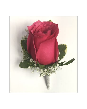 Hot Pink Rose w/Gyp & White Pearls Boutonniere