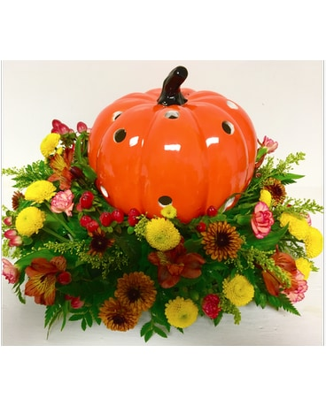Orange Ceramic Pumpkin Centerpiece
