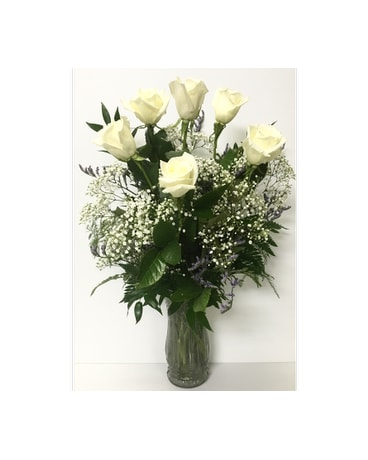 6 White Roses Arrangement