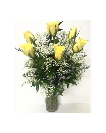 6 Yellow Roses Arrangement