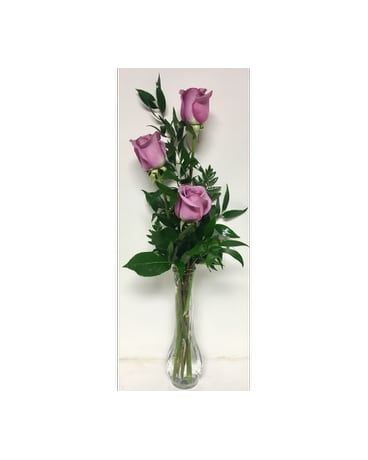 Budvase with Three Lavender Roses