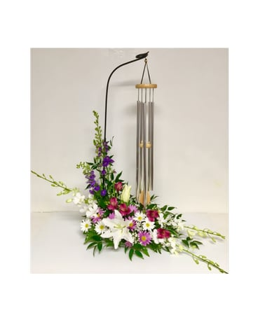 Poetic Wind Chime in Fresh Floral Arrangement