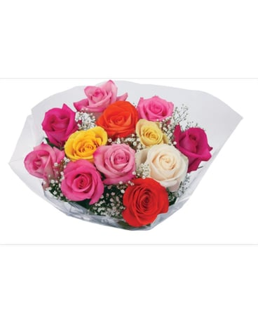 DV Bq Doz Mixed Colored Roses Wrapped Bouquet