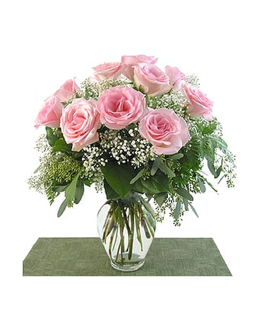 Deluxe Pink Roses Vased