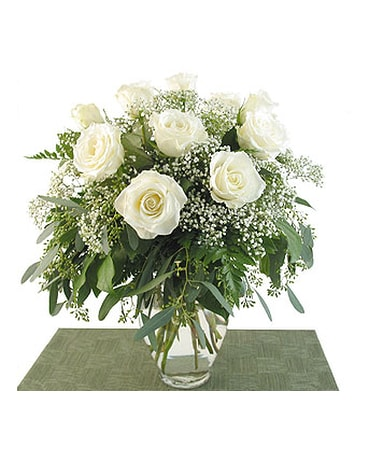 Deluxe White Roses Vased