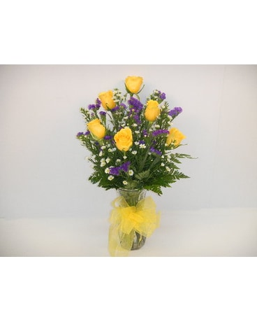 one half dozen yellow roses