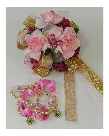 Pink mini carnation wrist corsage in bloomington il forget me not pink mini carnation wrist corsage mightylinksfo