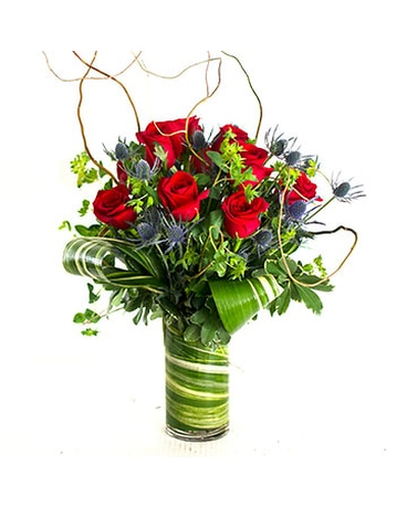 Tall Thistle & Rose Bouquet