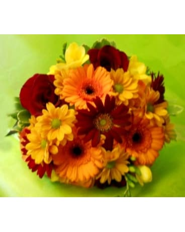 Fall Colored Rose and Daisy Boquet