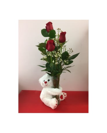 White Bear Bud Vase