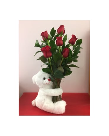 6 Red roses with white bear vase