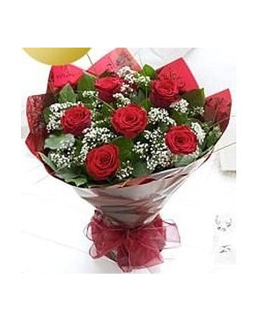 6 Long Stem Red Roses