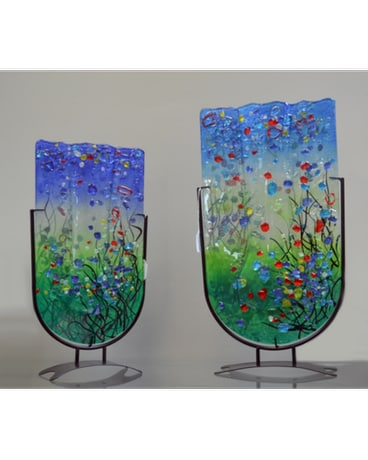 Multicolored glass flat vases