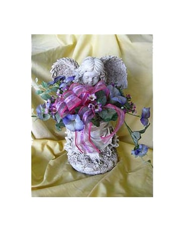 Garden Angel Statues with Silk Fowers