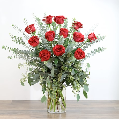 Red Roses With Eucalyptus Foliage 12