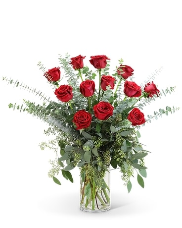 Red Roses with Eucalyptus Foliage (12) Flower Arrangement