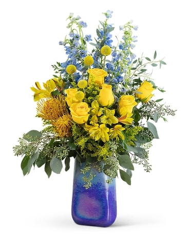 Belle in Blue Flower Arrangement
