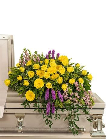 Sunshine from Heaven Casket Spray Funeral Casket Spray Flowers