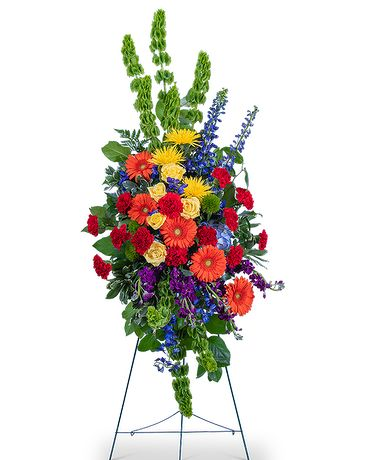 Vibrant Life Standing Spray Funeral Arrangement