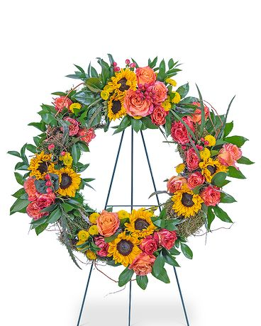 Sunset Reflections Wreath Funeral Arrangement