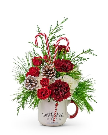 Way Up North Cafe Mug Flower Arrangement
