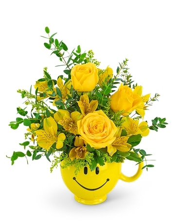 Send a Smile Mug Flower Arrangement