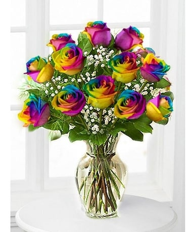 One Dozen Rainbow Roses Flower Arrangement